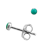 Sterling Silver 3mm Turquoise Stud Earrings