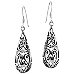 Sterling Silver Filigree Scroll Drop Dangle Earrings