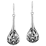 Sterling Silver Filigree Buds and Sprouts Tear Drop Dangle Earrings