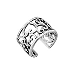 Sterling Silver Open Curls Filigree Free Size Ring