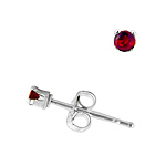 Sterling Silver 2mm Round Stud Earrings with Garnet CZ