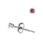 Sterling Silver 2mm Round Stud Earrings with Pink CZ