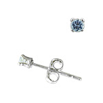 Sterling Silver 2mm Round Stud Earrings with Lavender CZ