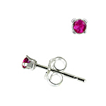 Sterling Silver 2mm Round Stud Earrings with Ruby CZ