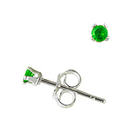 Sterling Silver 2mm Round Stud Earrings with Emerald CZ