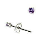Sterling Silver 2mm Round Stud Earrings with Amethyst CZ