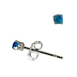 Sterling Silver 2mm Round Stud Earrings with Blue Topaz CZ