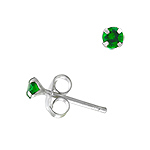 Sterling Silver 3mm Round Stud Earrings with Emerald CZ
