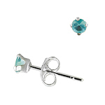 Sterling Silver 3mm Round Stud Earrings with Aquamarine CZ