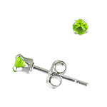Sterling Silver 3mm Round Stud Earrings with Peridot CZ