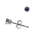 Sterling Silver 3mm Round Stud Earrings with Amethyst CZ