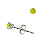 Sterling Silver 3mm Round Stud Earrings with Yellow CZ