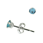 Sterling Silver 3mm Round Stud Earrings with Blue Topaz CZ