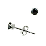 Sterling Silver 3mm Round Stud Earrings with Black CZ