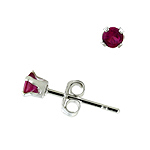 Sterling Silver 3mm Round Stud Earrings with Ruby CZ