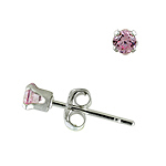 Sterling Silver 3mm Round Stud Earrings with Pink CZ