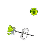Sterling Silver 4mm Round Stud Earrings with Peridot CZ