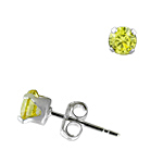 Sterling Silver 4mm Round Stud Earrings with Yellow CZ