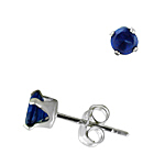 Sterling Silver 4mm Round Stud Earrings with Sapphire CZ