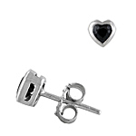 Sterling Silver Bezel Set Heart Stud Earrings with Black CZ