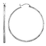 "Sterling Silver 2mm 2"" Diamond Cut Hoop Earrings"