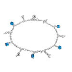 Sterling Silver Anklet with Dolphin and Blue Crystal Cube Charms
