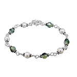Sterling Silver Bracelet with Cultured Freshwater White Pearl and Prehnite Beads