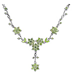Sterling Silver Flowering Vine Necklace with Citrine CZ on 3mm Cable Chain