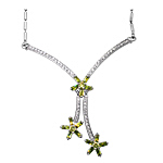 Sterling Silver Three Flowers Necklace with Citrine CZ on 1.5mm Bar Chain