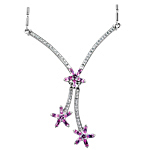 Sterling Silver Three Flowers Necklace with Pink CZ on 1.5mm Bar Chain