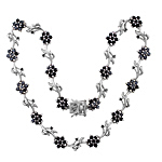 Sterling Silver Flowering Vine Necklace with Black CZ