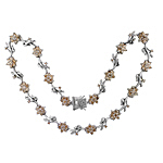 Sterling Silver Flowering Vine Necklace with Champagne CZ