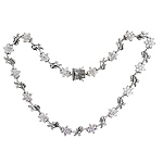 Sterling Silver Flowering Vine Necklace with White CZ