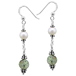 Sterling Silver Dangle Earrings with Cultured Freshwater White Pearl and Prehnite Beads