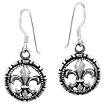 Sterling Silver Round Fleur de Lis Dangle Earrings