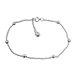 Sterling Silver 1mm Cable Chain Jingling Anklet with Ball Beads