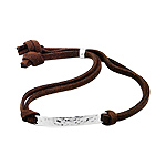 Sterling Silver Hammered Finish ID Tag Bracelet on Brown Faux Suede Cord