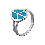 Sterling Silver Oval Peace Sign Ring with Reconstructed Turquoise Inlay