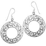 Sterling Silver Open Circle Lace Dangle Earrings