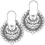 Sterling Silver Bali Design Round Hoop Earrings