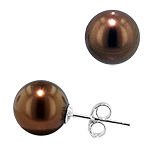 Sterling Silver 10mm Cultured Freshwater Chocolate Round Pearl Stud Earrings