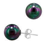 Sterling Silver 10mm Cultured Freshwater Black Round Pearl Stud Earrings