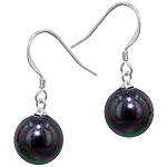 Sterling Silver 10mm Cultured South Sea Black Round Pearl Dangle Earrings