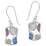 Sterling Silver Rectangular Dangle Earrings with Multicolor Mother of Pearl and White CZ Accents