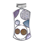 Sterling Silver Rectangular Pendant with Multicolor Mother of Pearl Inlays and White Cubic Zirconia