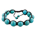 12mm Turquoise Beads and Brown String 12 Bead Shamballa Bracelet