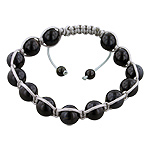 11mm Black Tiger Eye Beads and Grey String 13 Bead Shamballa Bracelet