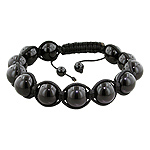 12mm Black Onyx Beads and Black String 12 Bead Shamballa Bracelet