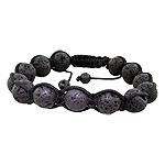 10mm Lava Rock Beads and Black String 13 Bead Shamballa Bracelet