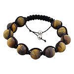 12.5mm Matte Tiger Eye Beads and Black String 13 Bead Shamballa Bracelet